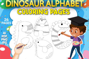 Print on Demand: Dinosaur Alphabet Coloring Pages Graphic Coloring Pages & Books Kids By Simran Store