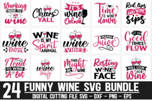 Print on Demand: Funny Wine Bundle Graphic Crafts By Designdealy