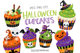 Print on Demand: Halloween Cupcakes Graphic Illustrations By DigitalPapers
