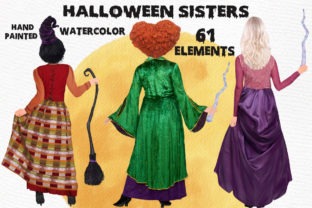 Print on Demand: Halloween Sisters Clipart Witches Clipar Graphic Illustrations By LeCoqDesign