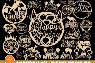Print on Demand: Happy Birthday SVG, Cake Topper Svg, Png Graphic Crafts By TonisArtStudio