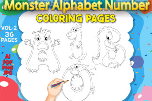 Print on Demand: Monster Alphabet Number Coloring Pages Graphic Coloring Pages & Books Kids By Simran Store