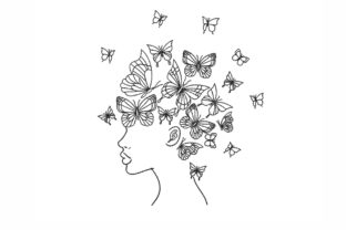 African Woman with Butterflies Fashion & Beauty Embroidery Design By NinoEmbroidery