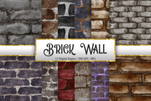 Print on Demand: Brick Wall Watercolor Background Graphic Backgrounds By PinkPearly
