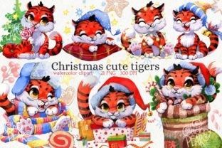 Print on Demand: Christmas Cute Tiger Clipart, New Year Graphic Illustrations By CherrypearStudio