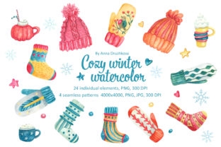 Print on Demand: Cozy Winter Watercolor Clipart Graphic Illustrations By ann-watercolor
