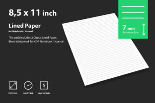 Digital Lined Paper 7mm Graphic Print Templates By CreativeKdp