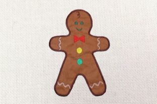 Gingerbread Boy Applique Christmas Embroidery Design By DesignedByGeeks