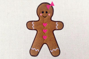 Gingerbread Girl Applique Christmas Embroidery Design By DesignedByGeeks