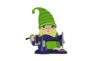 Gnome with Sewing Machine Sewing & Crafts Embroidery Design By Embroidery Designs