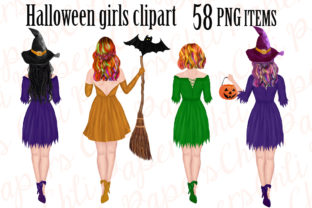 Print on Demand: Halloween Girls Clipart, Witches Clipart Graphic Illustrations By ChiliPapers