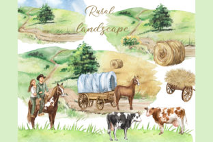 Rural Landscape Clipart, Farm Animals Graphic Add-ons By EvArtPrint