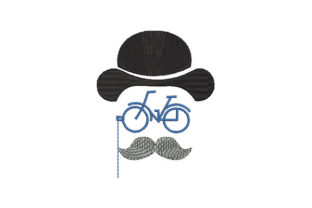 Print on Demand: Vintage Gentleman Portrait and Bicycle Father Embroidery Design By Dizzy Embroidery Designs