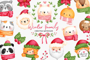 Print on Demand: Watercolor Christmas Animal Clipart Graphic Illustrations By Chonnieartwork