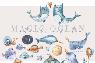 Print on Demand: Watercolor Nautical Clipart-70 Png Files Graphic Illustrations By Tiana Geo