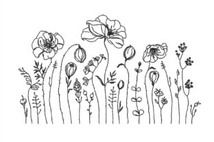 Wildflowers Outline Flowers Embroidery Design By NinoEmbroidery