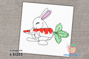Bunny Holding Fresh Carrot Farm Animals Embroidery Design By embroiderydesigns101