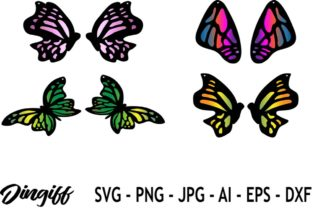 Print on Demand: Butterfly Earring Template SVG Graphic 3D SVG By morimorejingiff