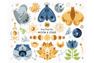 Celestial Magic Butterfly SVG and PNG Graphic Illustrations By MySpaceGarden