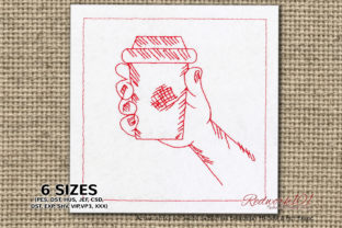 Coffee Cup in Hand Tea & Coffee Embroidery Design By Redwork101