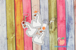 Domestic Goose ITH Snaptab Keyfob Birds Embroidery Design By embroiderydesigns101