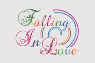 Print on Demand: Falling in Love Rainbow Color Lettering Wedding Quotes Embroidery Design By setiyadissi