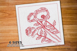 Fresh Poppies Bouquet Bouquets & Bunches Embroidery Design By Redwork101