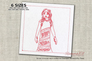 Girl Flaunting Dress Boys & Girls Embroidery Design By Redwork101