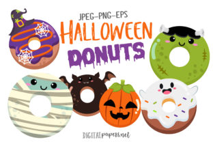 Print on Demand: Halloween Donuts Graphic Illustrations By DigitalPapers