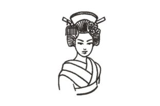 Japanese Geisha Beauty Embroidery Design By Embroidery Designs