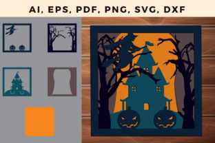 Print on Demand: Multi Layer Halloween Frame Svg Cut File Graphic 3D SVG By NGISED