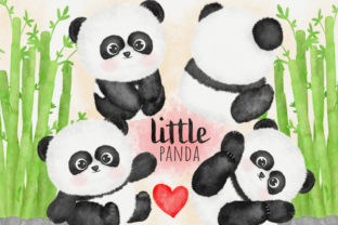 Panda Watercolor Clipart Cute Set Graphic Illustrations By amaydastore