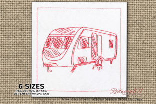 Parked Camper Lineart Camping & Fishing Embroidery Design By Redwork101