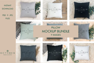 Pillow Mockup Bundle   Sublimation Blanks Graphic Product Mockups By octobermockups