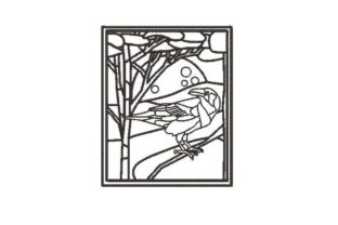 Raven Stained Glass Coloring Page Birds Embroidery Design By Embroidery Designs