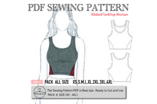 Ribbed Tank Top Woman Graphic Sewing Patterns By patternido.com