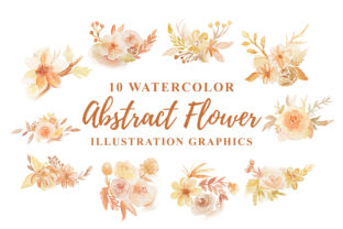 Print on Demand: 10 Watercolor Abstract Floral Graphic Graphic Templates By Ian Mikraz