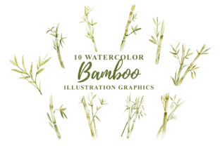 Print on Demand: 10 Watercolor Bamboo Illustration Graphic Graphic Templates By Ian Mikraz