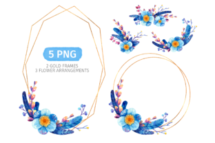 Print on Demand: Blue Floral Wreaths for Winter Wedding Graphic Objects By ValinMalin