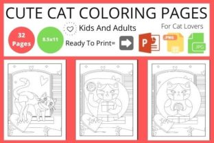 Cat Coloring Book for Kids & Adults Graphic KDP Interiors By POD Helper BD