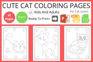 Cat Coloring Page for Kids   Cute Animal Graphic Coloring Pages & Books By POD Helper BD