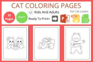 Cat Coloring Page for Kids Graphic KDP Interiors By POD Helper BD