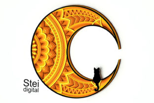 Cat on the Moon Mandala Svg, Dxf Files. Graphic 3D SVG By SteiDigital