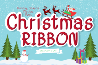 Print on Demand: Christmas Ribbon Display Font By OH Letter Studio