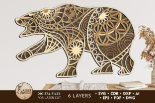 Print on Demand: Crafts Bear Multilayer Laser Cut File Graphic 3D SVG By LaserCutano
