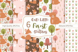Print on Demand: Cute Little Forest Digital Paper Design Graphic Patterns By DrawStudio1988