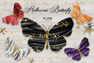 Print on Demand: Halloween Butterfly Clipart Graphic Illustrations By PinkPearly
