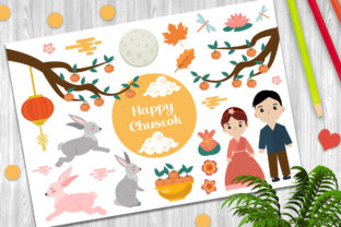 Happy Chuseok Vector Clip Art Graphic Objects By luciafox.design