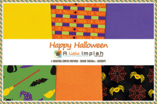 Print on Demand: Happy Halloween Digital Paper Pack Graphic Backgrounds By A little Impish by Mx. ABP