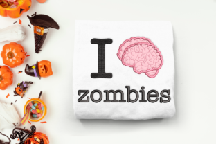 I Brain Zombies Applique Halloween Embroidery Design By DesignedByGeeks